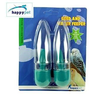 (happypet) bird accessories seed & water feeder (assorted colours) [46436] (happypet) Bird Accessories Seed & Water Feeder (Assorted Colours) [46436] 51DCY0ZNCaL