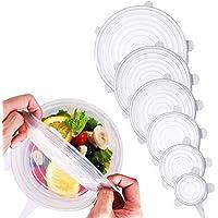 Tapas elásticas de silicona (6 unidades) – varios tamaños de cubiertas de ahorro de alimentos reutilizables y duraderas y ampliables para mantener los alimentos frescos blanco