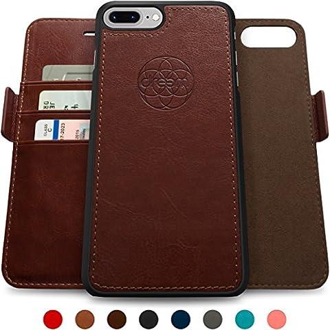 Coque + étui portefeuille magnétique Dreem Fibonacci pour iPhone 7 Plus, protection RFID, 2 positions possibles, en simili-cuir haut de gamme, dans un emballage cadeau - Marron