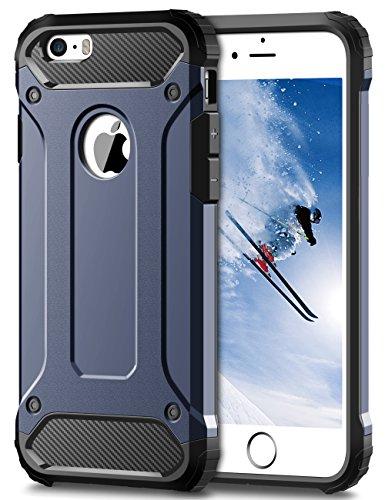 Coolden iPhone SE Hülle, Premium [Armor Serie] iPhone 5S Outdoor Stoßfest Handyhülle Silikon TPU + PC Bumper Cover Doppelschichter Schutz Hülle für iPhone 5/5S/SE (Blau)