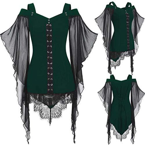 Rabatt Kostüm Lager - Dorical Halloween T-Shirt Oberteil für Damen/Frauen Schwarz Halloween Hexe Kostüm Gothic Criss Cross Sexy Spitzenärmel T-Shirt Tunika Loose Fit Gr S-XXL(Grün,XX-Large)