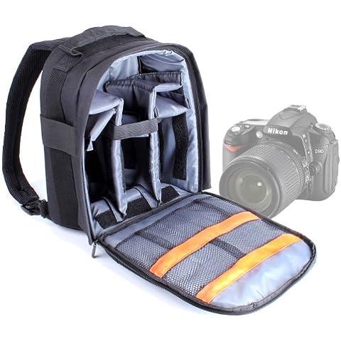 DURAGADGET Mochila Ajustable Con Compartimentos Para Cámara Nikon D90 + Funda Impermeable ¡Perfecta Para Fotografiar Bajo La Lluvia!