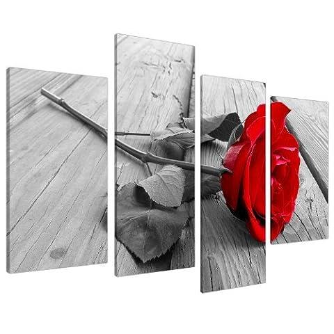 Tableau sur Toile - Fleur Rose - Rouge, Noir et Blanc - 4 Parties - Wallfillers Canvas 4005