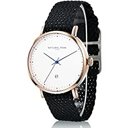 Women Rose Gold Watches with White Dial Date Black Nylon Watch Bands