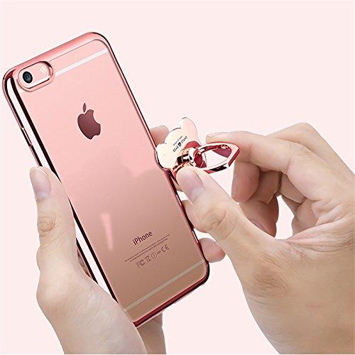 Etsue Glitzer Ring hülle für iPhone 8/iPhone 7 mit [360 Grad Niedlich Bär Ring Fingerhalterung Ständer] Glänzend Silikon Weiche Durchsichtig Handytasche, Glitzer Bling Glitter Überzug Silber Rahmen Cr Bär Ring Rose Gold