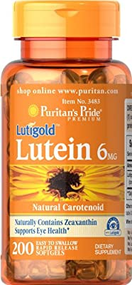Puritan's Pride Lutein 6 mg with Zeaxanthin 200 Softgels 3483