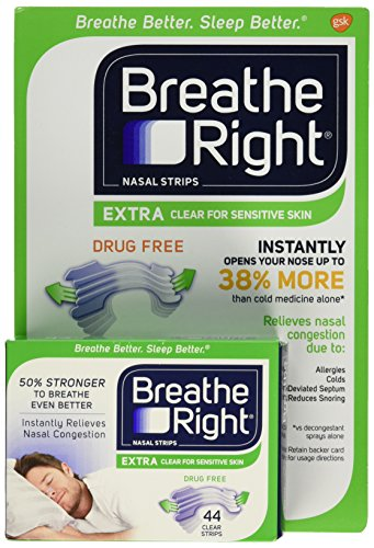 Breathe Right Extra Clear Nasal Strips Drug Free Sensitive (44 Extra Clear Strips (Sensitive Skin)) -