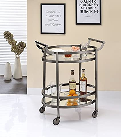 ComfortScape Rolling Kitchen Service Trolley with Tempered Glass Shelves & Open Storage, Black Nickel