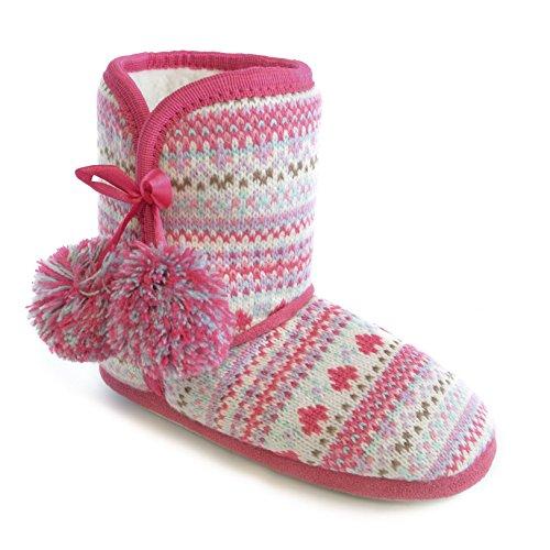Mädchen Strick Hausschuhe mit Fairisle Muster in Stiefel Design Weiß/Fuchsia