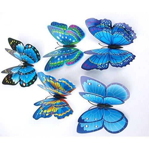 Koly 12 Pcs DIY 3D Butterfly Wall Sticker Fridge Magnet Room Decor Decal Applique (Blue)