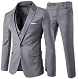 Slim Fit  3-Teilig Business Herrenanzug ein Knopf Smoking,Hellgrau, Gr. S