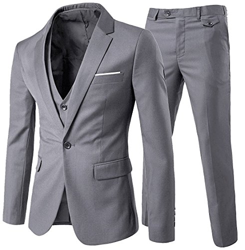 Slim Fit  3-Teilig Business Herrenanzug ein Knopf Smoking,Hellgrau, Gr. M