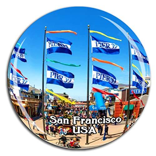 Weekino Pier 39 San Francisco Amerika USA Kühlschrankmagnet 3D Kristallglas Tourist City Travel Souvenir Collection Geschenk Stark Kühlschrank Aufkleber