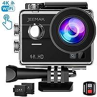 JEEMAK Action Cam 4K Action Camera WiFi 16MP Ultra HD Sony immagine Sensore Touch Screen Fotocamera Sportiva 170° Grandangolare Impermeabile Sport Cam con Remote Control 2 Batterie e Kit Accessori