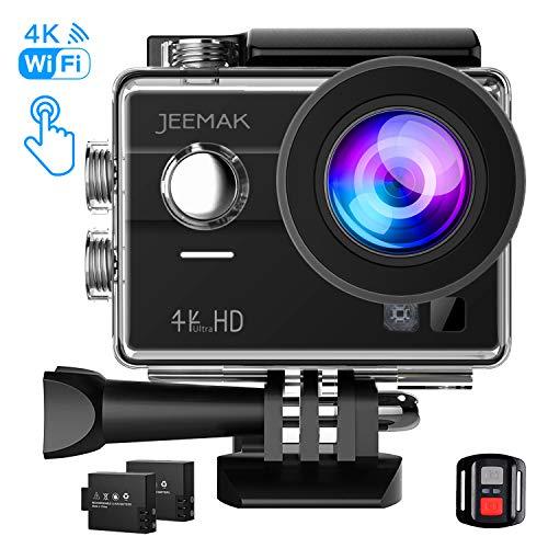 Jeemak Action Cam 4K Wifi 16MP Touchscreen 30M Wasserdicht Unterwasser Kamera mit 2 Akkus Fernbedienung Montage Zubehör Kits Kompatibel gopro