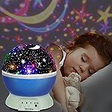 LED Star Projektor ,UBEGOOD Projektor Lampe 360° Grad Rotation Sternhimmel Projektor 4 LED Lampen 8 Licht Modus Farbwechsel Kinderlampe Nachtlampe Schlafzimmer Nachtlicht für Weihnachten Halloween Usw - Blau