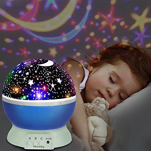 UBEGOOD LED Star Projektor Projektor Lampe 360° Grad Rotation Sternhimmel Projektor 4 LED Lampen 8 Licht Modus Farbwechsel Kinderlampe Nachtlampe Schlafzimmer Nachtlicht für Weihnachten - Blau (Ganze Für Die Familie Halloween-party-spiele)