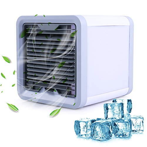 Mini Luftkühler, MOSFiATA Air Cooler 3 In 1 Mobiles Klimagerät USB Klimaanlage durch Physische Kühlung 3 Kühlstufen 8 Stimmungslichter Umweltfreundlich für Camping Auto Wohnwagen Büro Zuhause