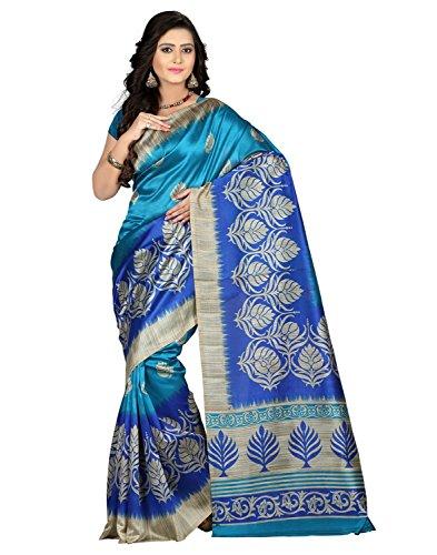 Shree Rajlaxmi Sarees Women's Silk Saree With Blouse Piece (Rl-Mysore Blue_Blue)
