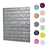 3D Wandpaneele Selbstklebend, 70cm x 77cm Ziegelstein Tapete, Brick Muster Tapete, Selbstklebend Steinoptik, Brick Pattern Wallpaper für Schlafzimmer Wohnzimmer Moderne(Grau)