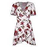 Shujin Damen Sommerkleid V Ausschnitt Volant mit Rüschen Verband Polka Dots Drucken Wickelkleid A-Linie Partykleid Cocktailkleid (Weiß, S)