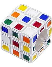 So Chic Joyas - Abalorio Charm de Rubik cuadrados rompecabezas cubo de juego Multi Esmalte rojo Azul Verde Amarillo Naranja - Compatible con Pandora, Trollbeads, Chamilia, Biagi - Plata 925
