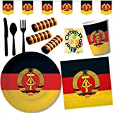 HHO Nostalgie Ostalgie DDR Party-Set 112tlg. für 16 Gäste : Becher Teller Servietten Wimpel Luftschlangen Besteck
