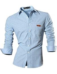 Jeansian Hombre Camiseta Moda Manga Larga Long Sleeves Camisas Casual Shirts Plaid Casual Pocket Dress Tops Slim Fit Punto Cuello Breasted Plaid Check 8615