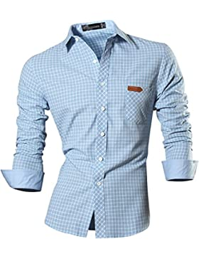 [Patrocinado]jeansian Hombre Camisa Moda Casual Button Down Slim Fit Long Sleeves Dress Shirt Tops Z029