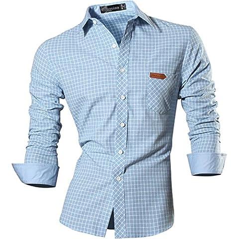 jeansian Uomo Camicie Plaid Maniche Lunghe Moda Chequer Slim Casual Fashion Men Shirts 8615