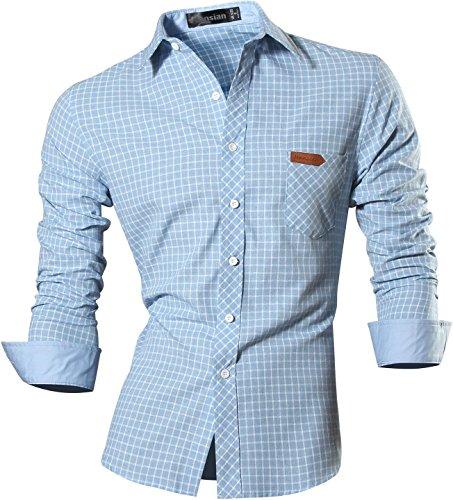 Jeansian uomo camicie un colore solido senza fiori moda abito camicia affari slim casual shirts 8615 lightblue m