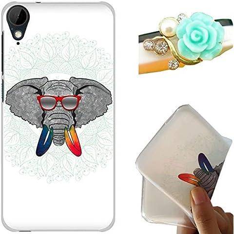 Rockconcept HTC Desire 825 Custodia, Disegno del Elefante Serie [Con Spina di Polvere Libera] Flessibile TPU Gel Silicone Protettivo Skin Custodia Caso per HTC Desire 825 (Occhiali elefante)