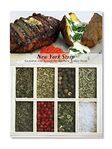 New York Strip – 8 Gewürze Set für New Yorker Ribeye Steak (39g) – in einer schönen Holzbox – mit Rezept und Einkaufsliste – Geschenkidee für Männer und Feinschmecker von Feuer & Glas