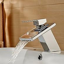 Réduction pour Prime Day: Auralum® Robinet Mitigeur de Lavabo pour Cuisine Salle de bains Laiton Chromé Brillant Cascade Robinetterie