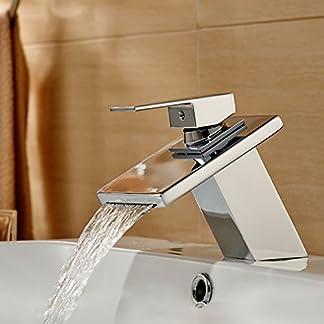 Auralum Grifo y tapa de cristal fregadero grifo lavabo para baño cocina