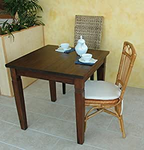 Maison coloniale tavolo da pranzo quadrato 80x80 cm in legno massello di teak pregiatissimo - Tavolo da pranzo quadrato ...