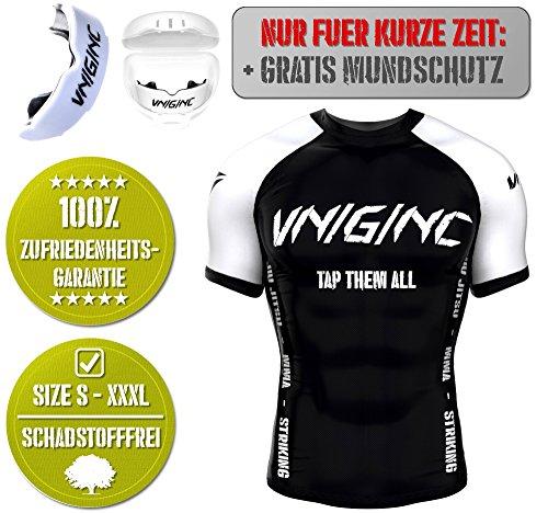Vengeance MMA Premium Rashguard + Gratis MUNDSCHUTZ für MMA, BJJ, No Gi Grappling, Boxen, Kickboxen, Kampfsport - Kurzarm Compression - Damen/Herren - reißfestes Material - höchste Qualität (XL)