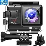 Victure Action Cam 4K WIFI 20MP Wasserdicht 30M Unterwasserkamera Ultra Full HD Sport Action Kamera mit Ladegerät 2 Akkus und Gratis Zubehör