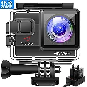 Victure Actioncam 4K WiFi 170° Weitwinkel Aktionkameras Wasserdicht 40M Unterwasserkamera 20MP Ultra Full HD Sport Action Kamera mit Ladegerät 2 Akkus und Gratis Zubehör