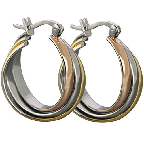 Daesar Ohrringe Edelstahl Damen Hoop Ohrhänger Kreis 21.5X26.8MM (Ohrringe Hoop Tri-color)