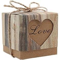 Demarkt 50X Cajas de Regalo Caja Caramelos Decoracion para Boda o Fiestas , Diseño de Corazón( Color de Grano de madera)