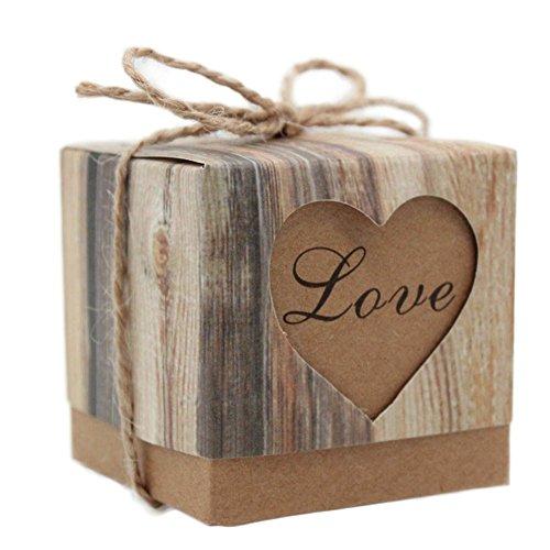 Monbedos 100Candy Box mit Hanf Seil Love Geschenk Papier Box Keks Kiste Deko behandelt Boxen für Kinder Geburtstag Baby Dusche Gäste Hochzeit Party Supplies