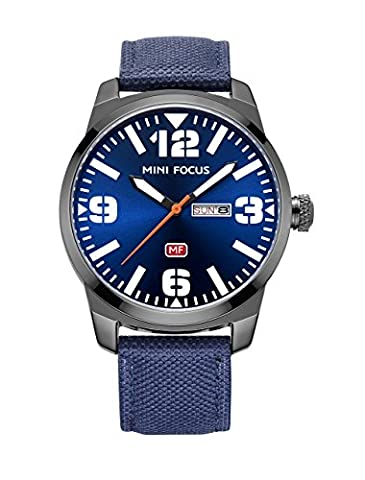 Large Face Men'S Blue Watch Unique Nice Cool Fashion Leisure Sport Watches With Blue Dial And Nylon Band Quartz Analog Watch Calendar Date