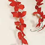 Cryoc Artificial Plant Vines (Value Pack Of 2) Blossom Red / Artificial Plants For Living Room / Artificial Plants For Decoration / For Wall Decoration, Wedding Decoration, Party Decoration, Vehicle Decoration, Stage Decoration / Length 8 Feet -Pack Of 2