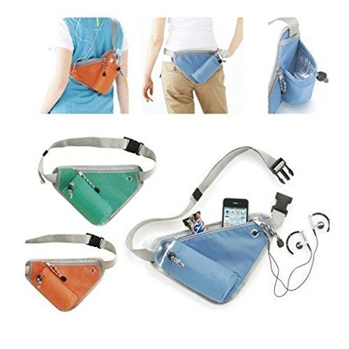 Unisex bolsa de deporte portátil clave teléfono dinero titular Fitness Running cinturón triángulo Fanny Pack organizador, azul