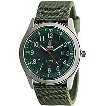 Relojes de pulsera Zeiger Reloj Hombre cuarzo Reloj Hombre Militar Reloj hombre deportes Date Fluorescence Canvas Nylon Verde W283FR-FBA