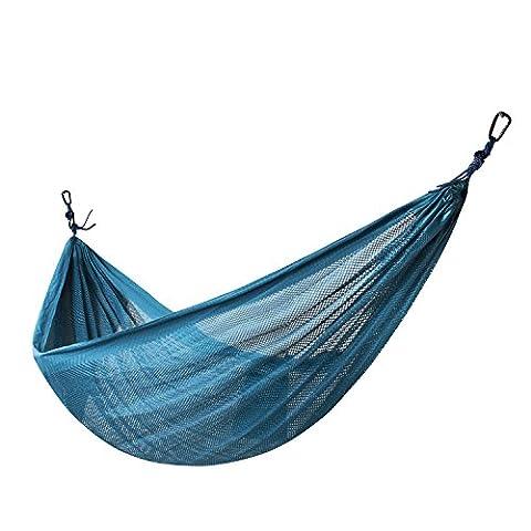 xiyoyo Fallschirm Hängematte Weich gestärkt Polyester Nylon atmungsaktiv Mesh 274,3x 152,4cm Größe Tragkraft: 272kg für Camping, Reisen, im Freien, Rucksackreisen (Blaugrün)