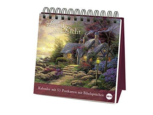 Land im Licht - Thomas Kinkade - Wochenkalender 2019 - Postkartenkalender mit biblischen Texten - Heye-Verlag - Aufstellkalender mit 53 heraustrennbaren Postkarten - 16 cm x 16,5 cm -