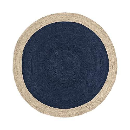 Green Decore Handgefertigte geflochtene runde Naturfaser Jute Teppich, Natur (120 cm Durchmesser, Oculus Marine) - Runde Marine Teppich
