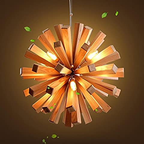 GRFH NEW 52cm Northern Europe Wooden Vintage Restaurant Cafe Solid Wood Chandelier Creative Individuality Bar LED Pendant lamp